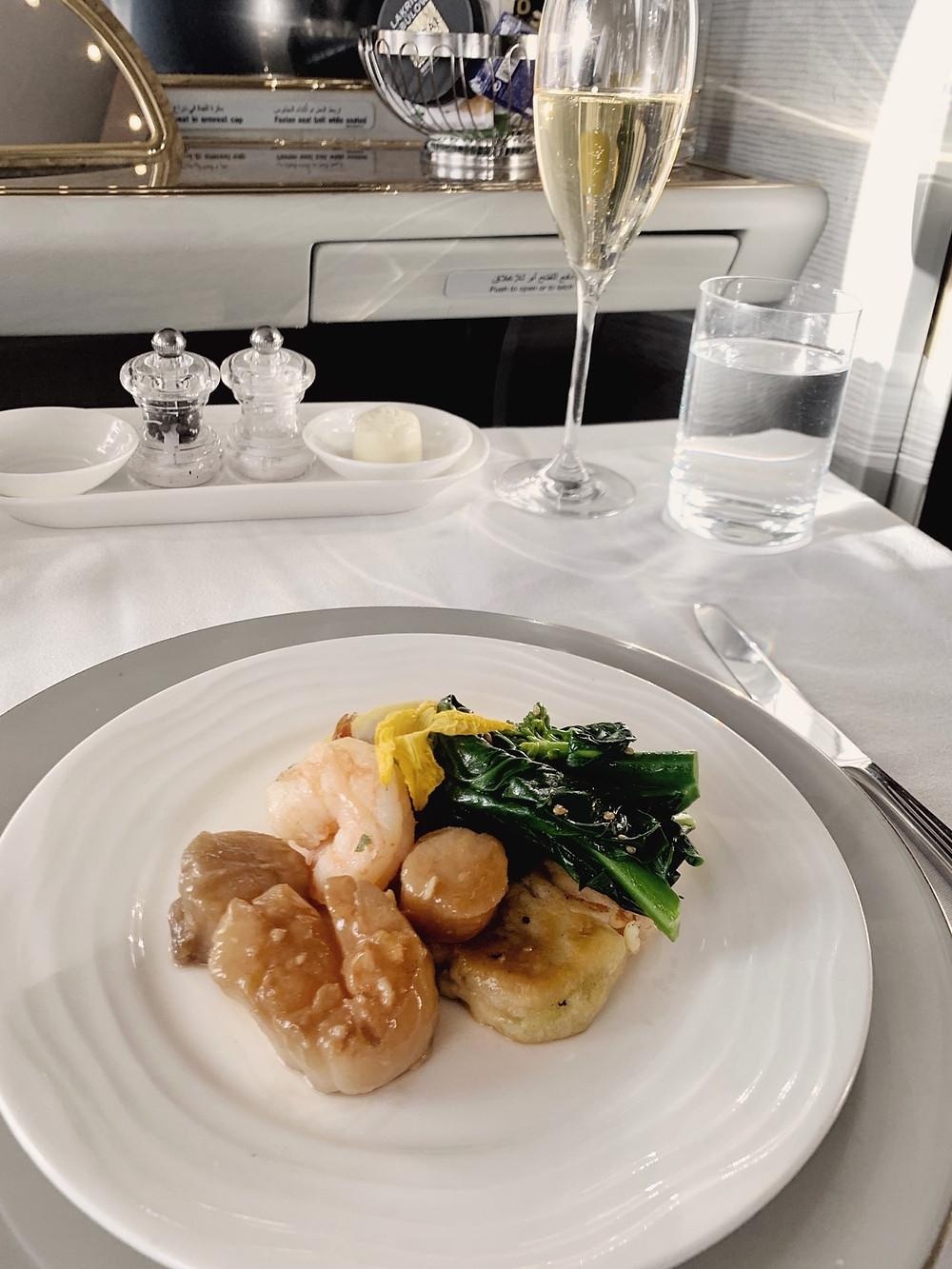 Emirates First Class San Francisco - Dubai, Scallop Appetizer