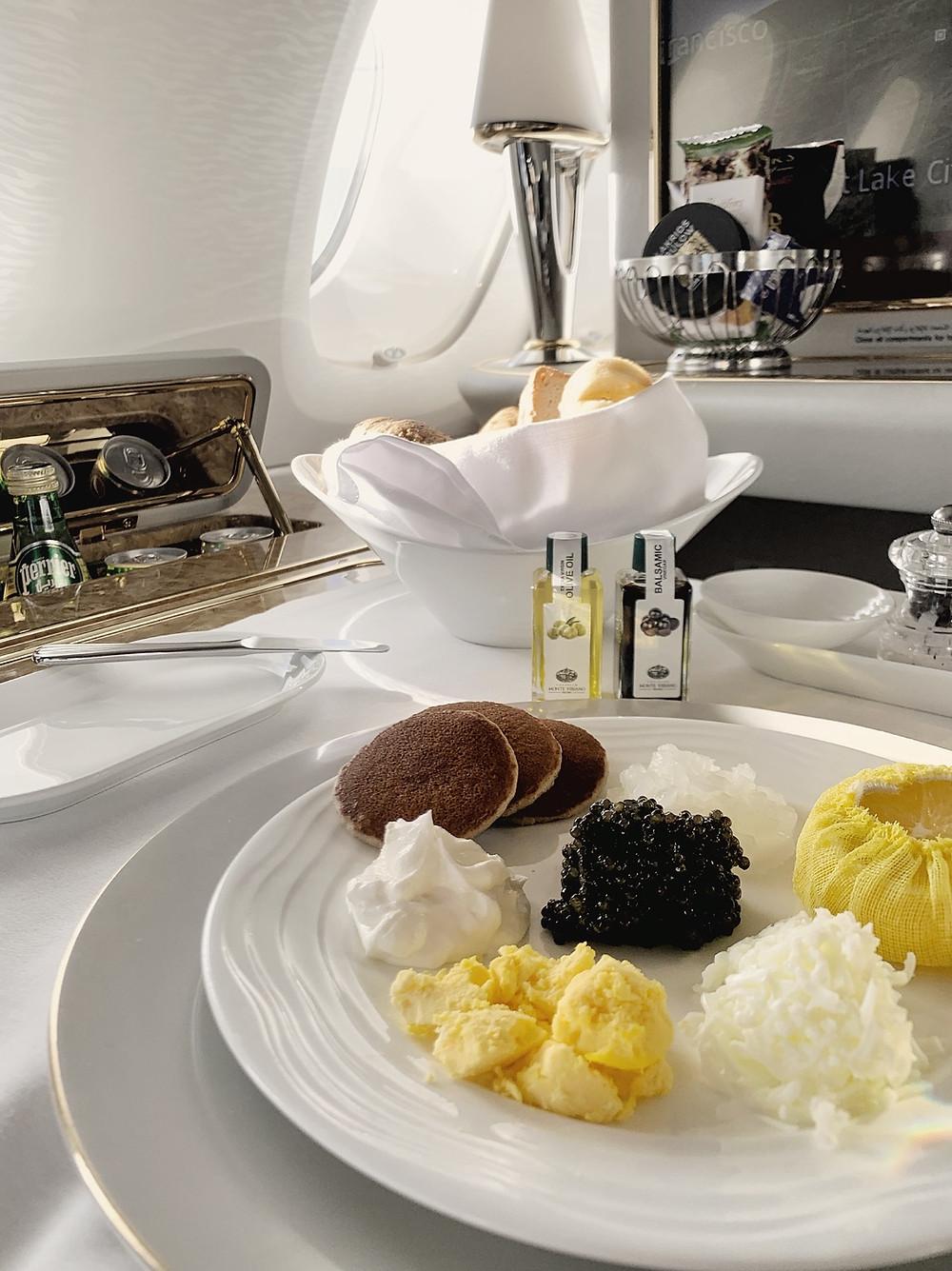 Emirates First Class San Francisco - Dubai, Caviar Service