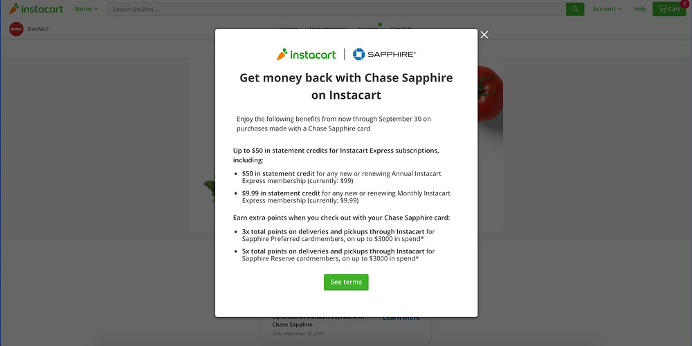 Chase Sapphire and Instacart have teamed up to offer cardholders additional points earning opportunities through September 30 2020.