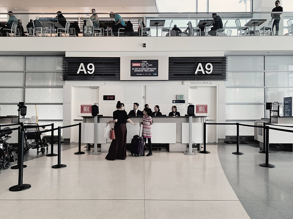 Emirates First Class San Francisco - Dubai, Boarding Gate A9