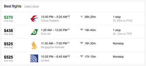 China Eastern, One-Way SFO-SIN $270