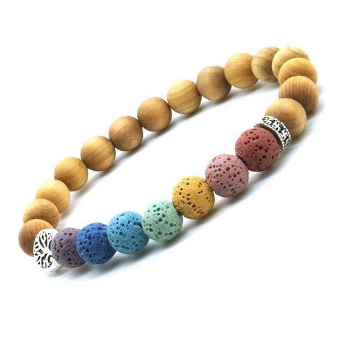 Wooden Beads Tree of Life 7 Chakras 8mm Lava Stone Aromatherapy Bracelet