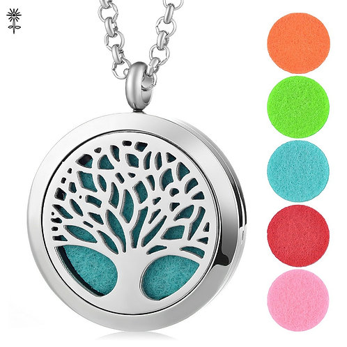 Tree of Life Stainless Steel Essential Oil Diffuser Necklace With 5pcs Oil Pads