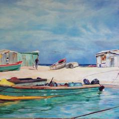 "Fishing Shacks, Oil on Canvas, 36"" x 60""."