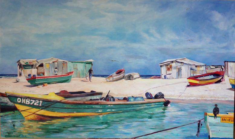 "Fishing Shacks, Oil on Canvas, 36"" x 60"""