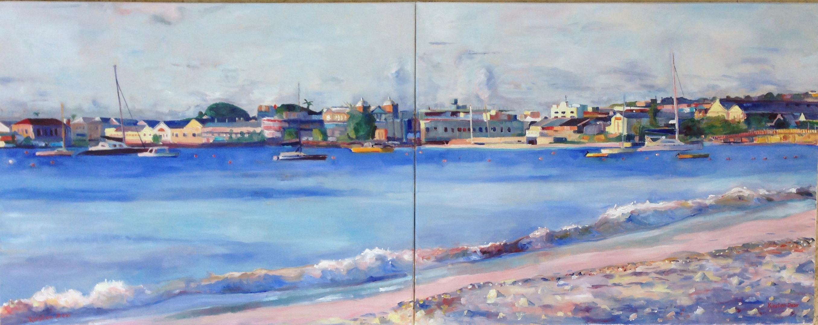 "Carlisle Bay Evening  Diptych.  Oil on Canvas 24"" x 60"""
