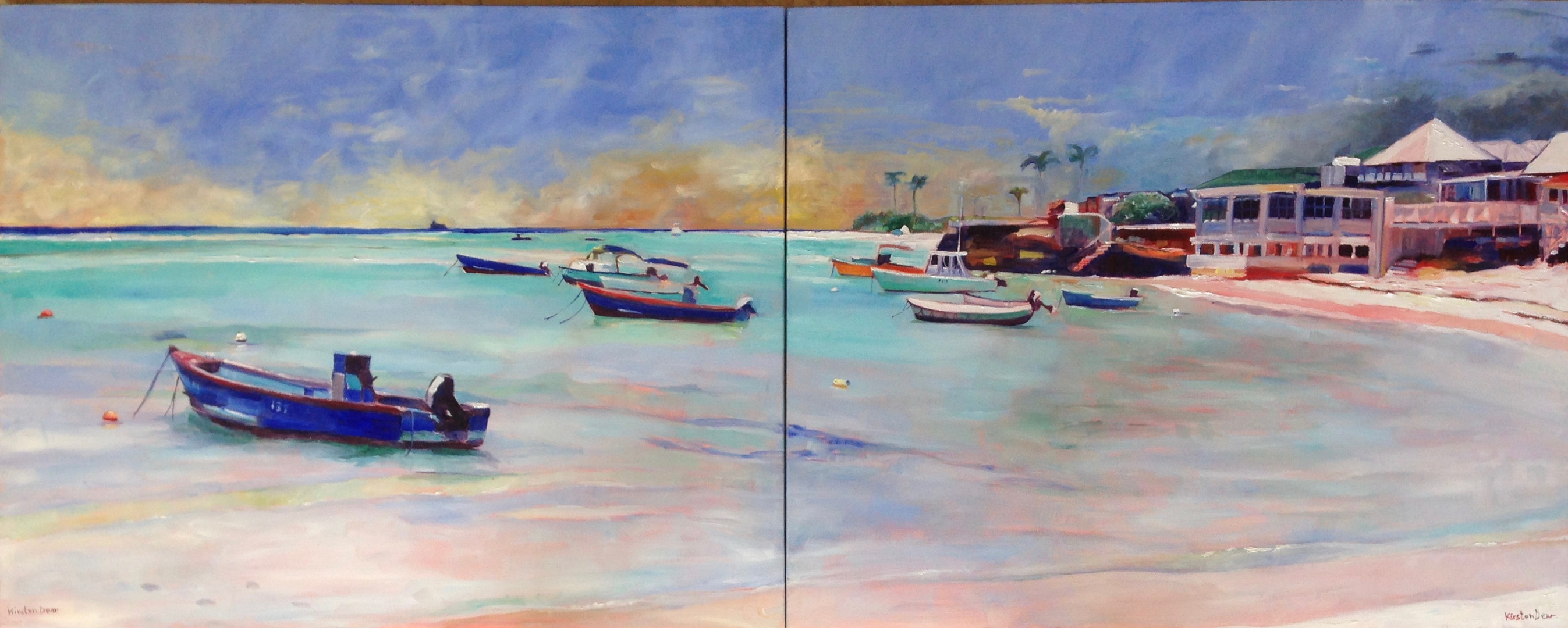 "St lawrence anchorage Diptych, Oil on Canvas 24"" x 60"""