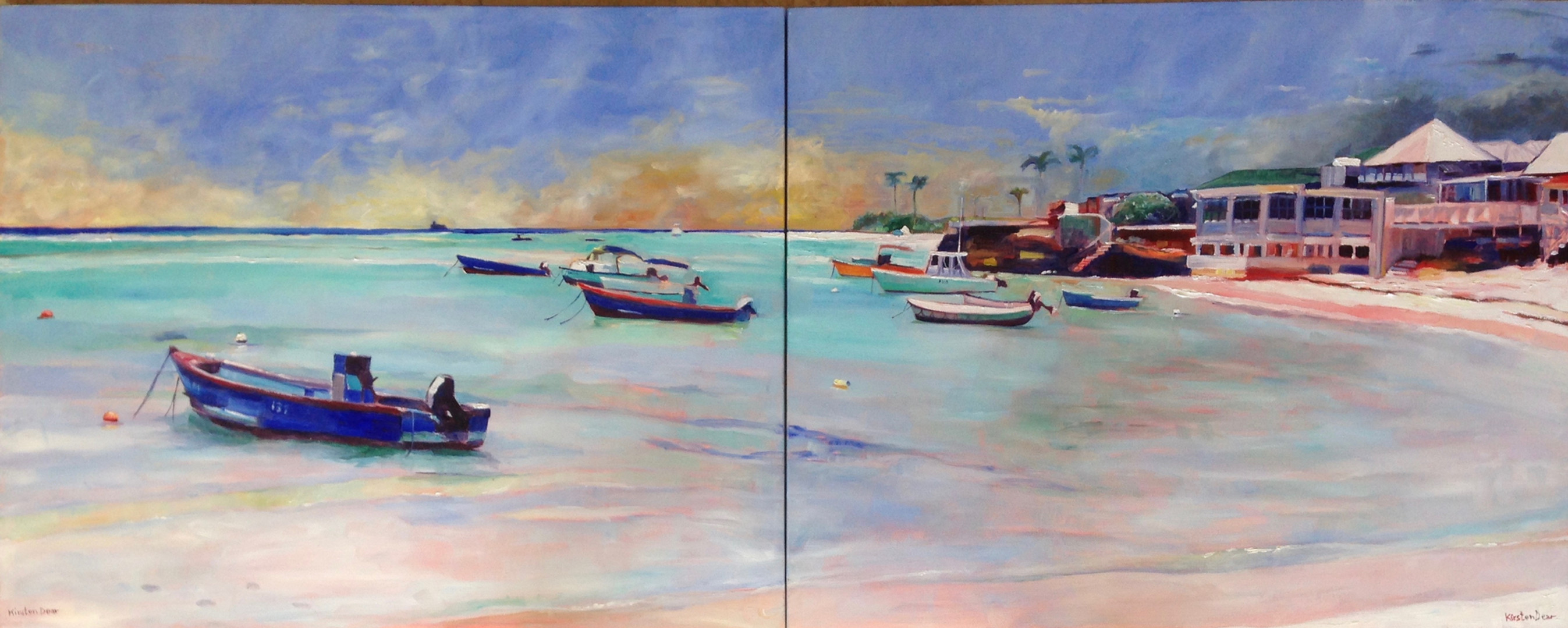 """St lawrence anchorage Diptych, Oil on Canvas 24"""" x 60"""""""