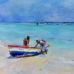 "Boat arriving at Millie Ifill Fish Market,  Oil on Canvas 24""x36"""