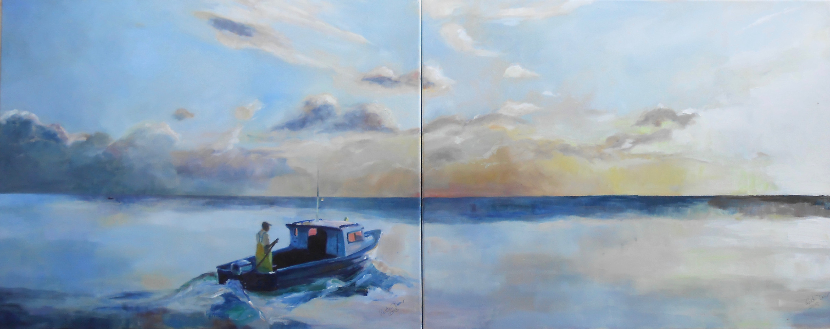 """Evening Fishing Paynes Bay. Oil on Canvas 24"""" x 60"""""""