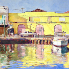 "Bridgetown Careenage  Oil on Canvas, 36""x60"" - another painting of the same buildings - morning light just spectacular"