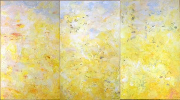 Yellow Triptych 9 feet  x 5 feet