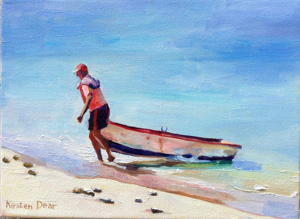 """Heavy Dinghy.  Oil on Canvas 9"""" x 12"""""""