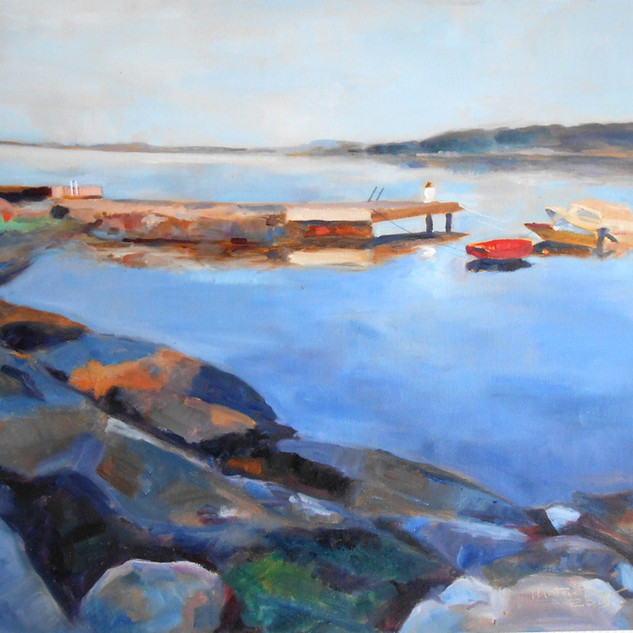 At 6 am.  Oil on Canvas 50cm x 60cm.  Part of a series of the same pier at different times of day during the amazing Norwegian summer