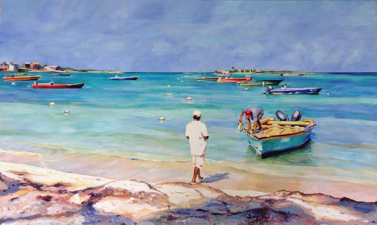 "Island Harbour, Oil on Canvas 36"" x 60"""