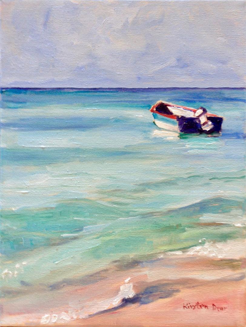 """Study Paynes Bay Beach, Oil on Canvas, 12"""" x 9"""""""