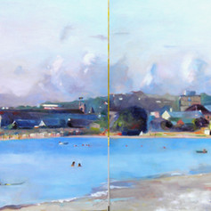 "Carlisle Bay August,  Oil on Canvas 24"" x 60"".  Winner of the Carmichael  'Critics Prize for Best Painting by an Established Artist'"