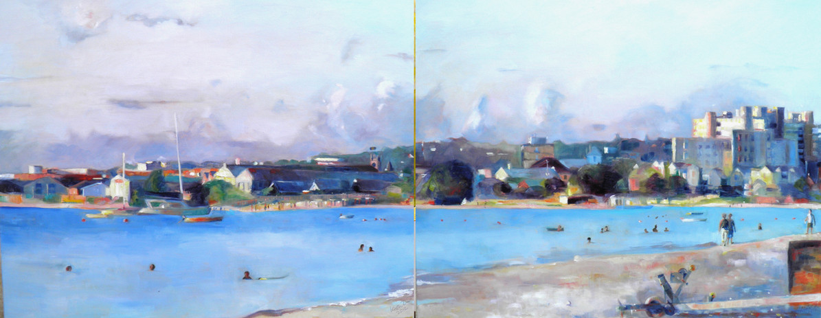 "Carlisle Bay August.  Oil on Canvas 24"" x 60"""