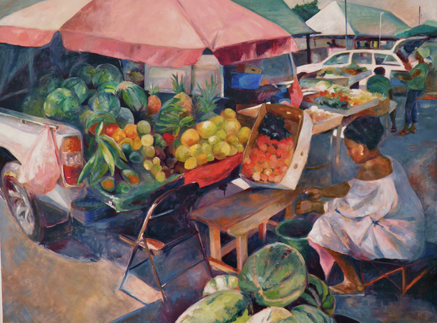 "Oistins  Market, Oil on Canvas 36""x 48"""