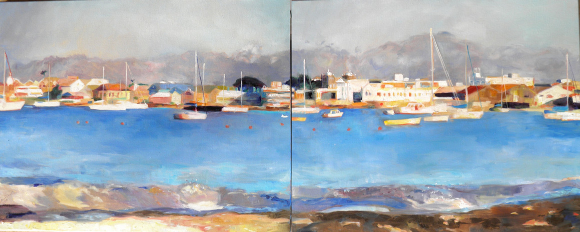"X Diptych.  Oil on Canvas 24"" x 60"""
