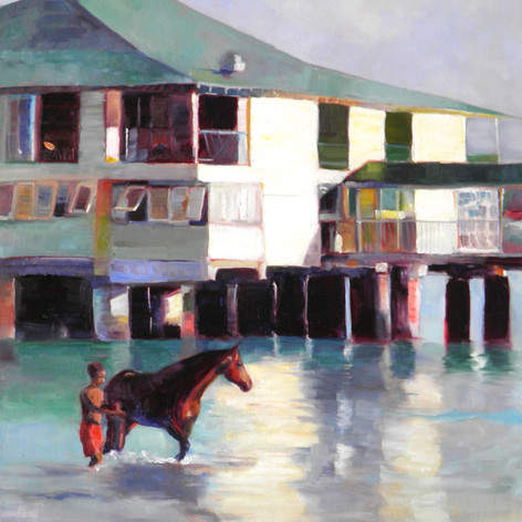 "Bayhorse Morning. Oil on Canvas.  24""x30"" Every morning the horses from the garrison come down with their grooms for their morning swim."