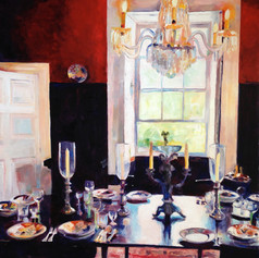"Dining Table, St Nicholas Abbey, Oil on Canvas.  36"" x 48"""