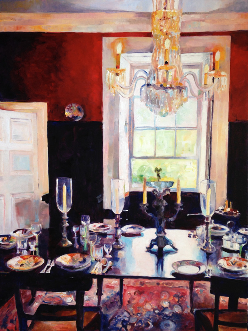 "Dining Room St Nicholas Abbey.  Oil on Canvas 48"" x 36"""