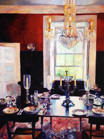 "Dining Room St Nicholas Abbey.  Oil on Canvas 48"" x 36"""