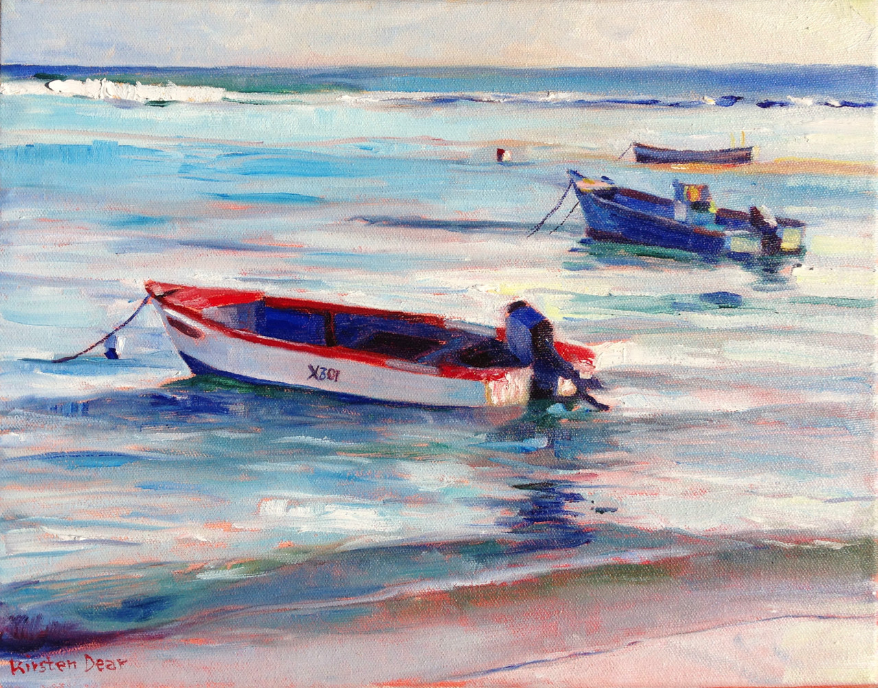 """Study Boats at Anchor St Lawrence, Oil on Canvas,  11"""" x14"""""""
