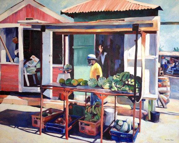 """Cheapside Market, Oil on Canvas 48"""" x 60"""""""