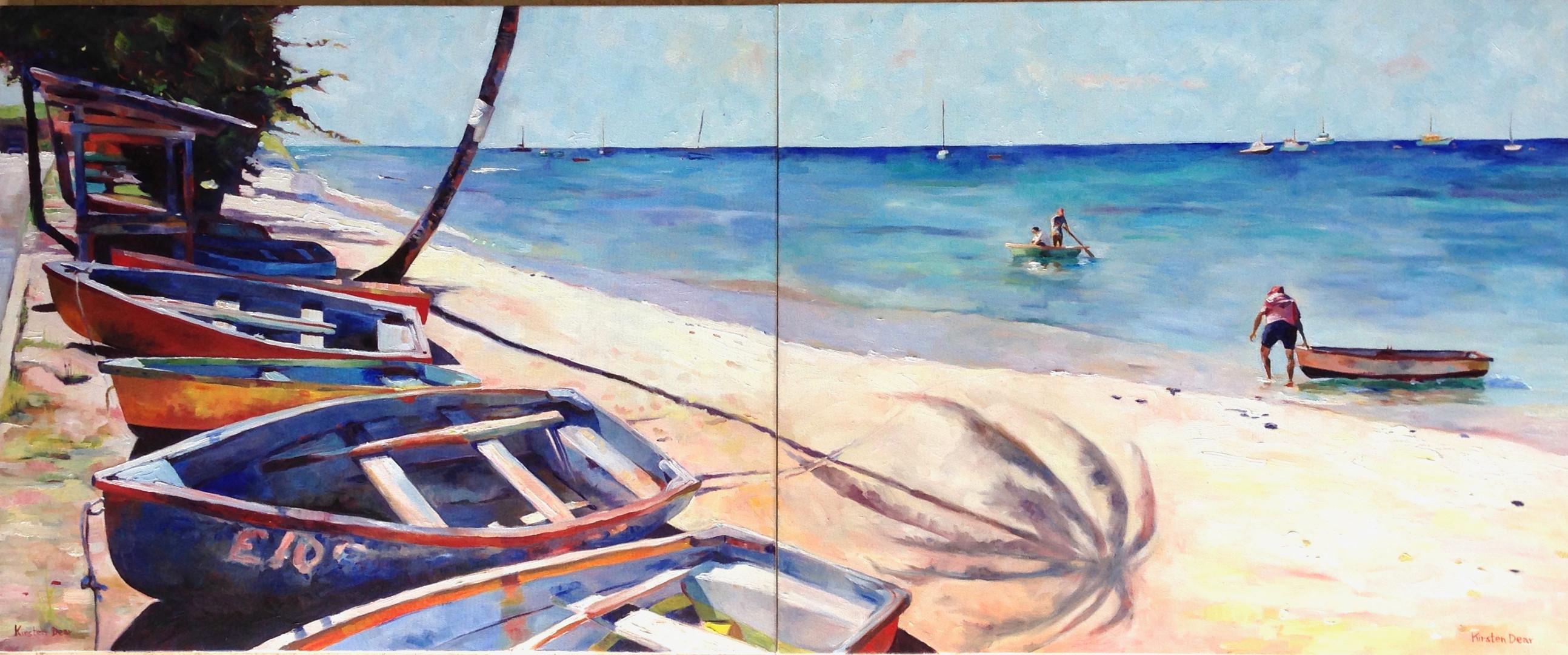 "Six Men's Diptych.  OIl on Canvas 30"" x 72"""