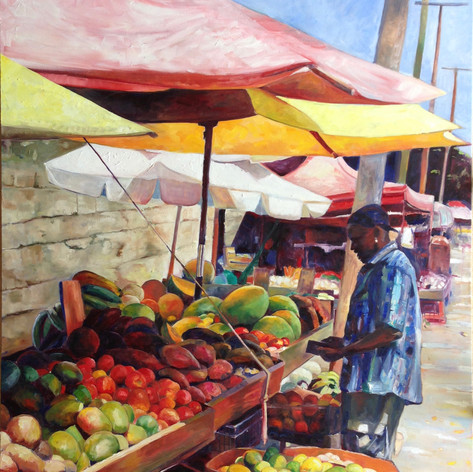 "Outside Cheapside Market. Oil on Canvas 48"" x 60"""