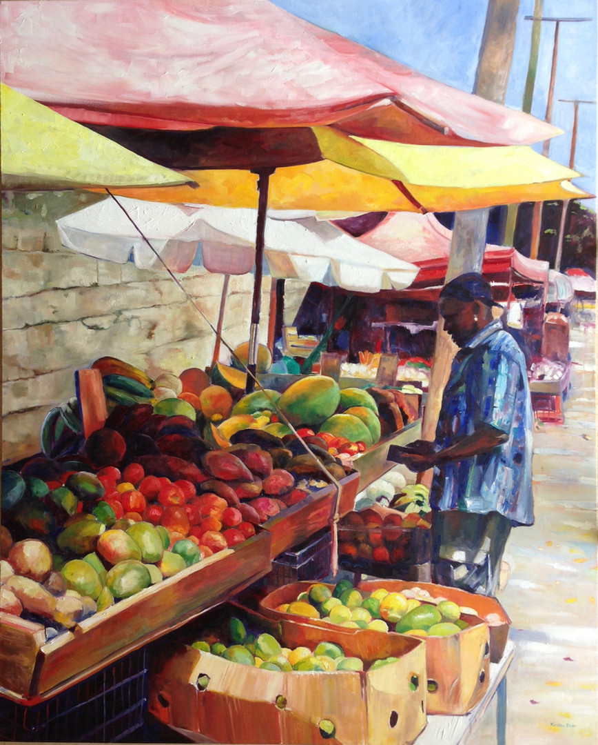"Outside Cheapside Market, Oil on Canvas 48"" x 60"""