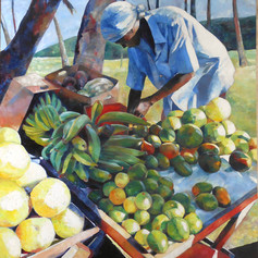 "The Fruit Seller III  Oil on Canvas 48""x60"""