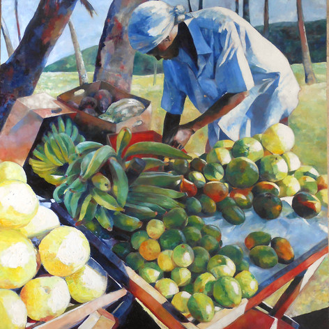 "The Fruit Seller III  Oil on Canvas 48""x60"""