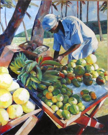 "The Fruitseller  III, Oil on Canvas 60"" x 48"""