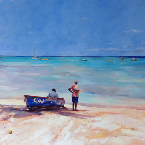 "To Fish or Not to Fish, Oil on Canvas. 36"" x 48"". The two fishermen had dragged their dinghy into the shade of the coconut tree to get out of the sun.  Contemplating..."