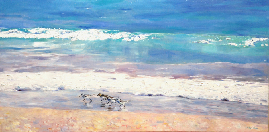 """Family Outing.  Oil on Canvas 24"""" x 48"""""""