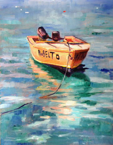 """Little boat. Oil on Canvas 11"""" x 14"""""""