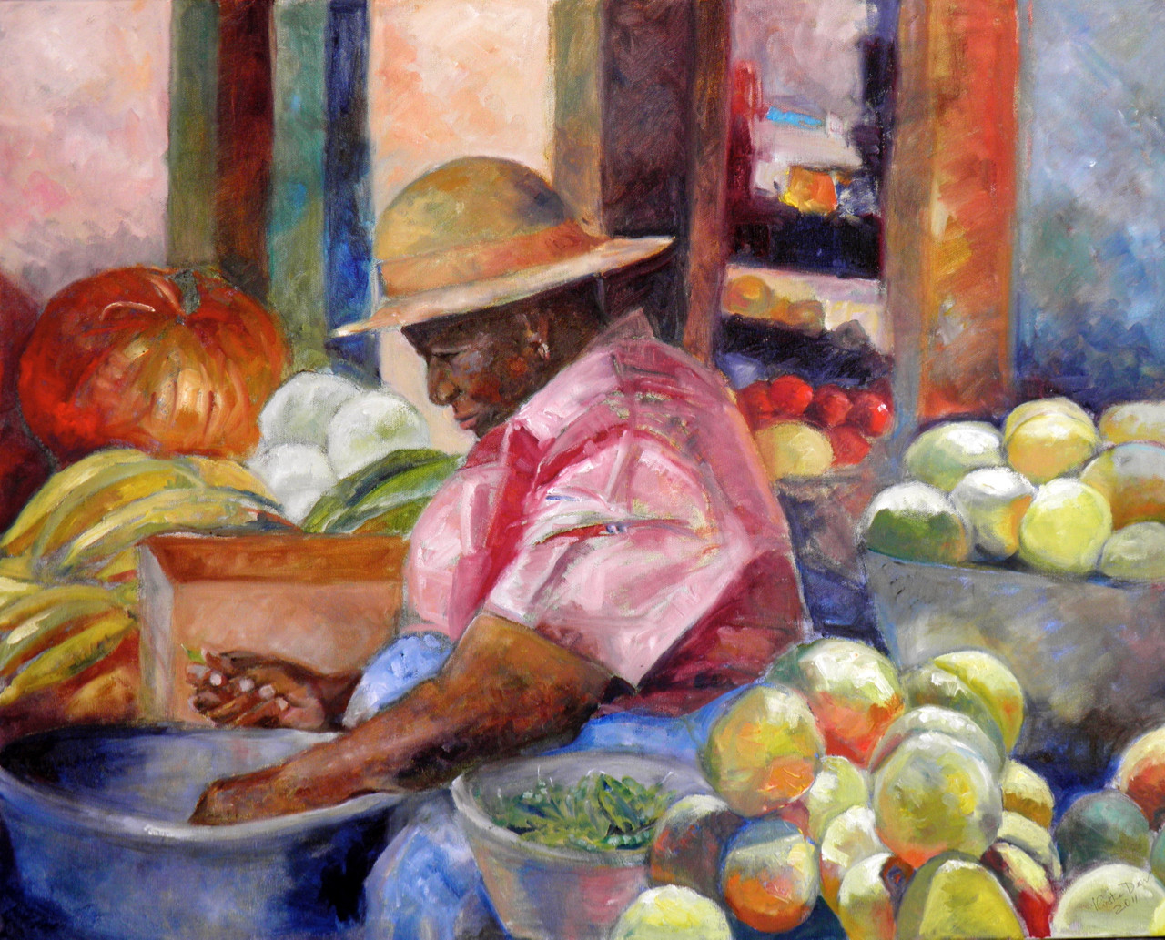 "Shelling Peas, Oil on Canvas 24"" x 30"""