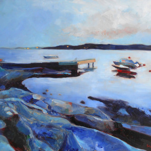 Almost midnight. Oil on Canvas 46cm x 55cm. Part of a series of the same pier at different times of day during the amazing Norwegian summer