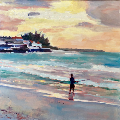 "Fishing off Accra Beach, Oil on Canvas 12"" x 12"""