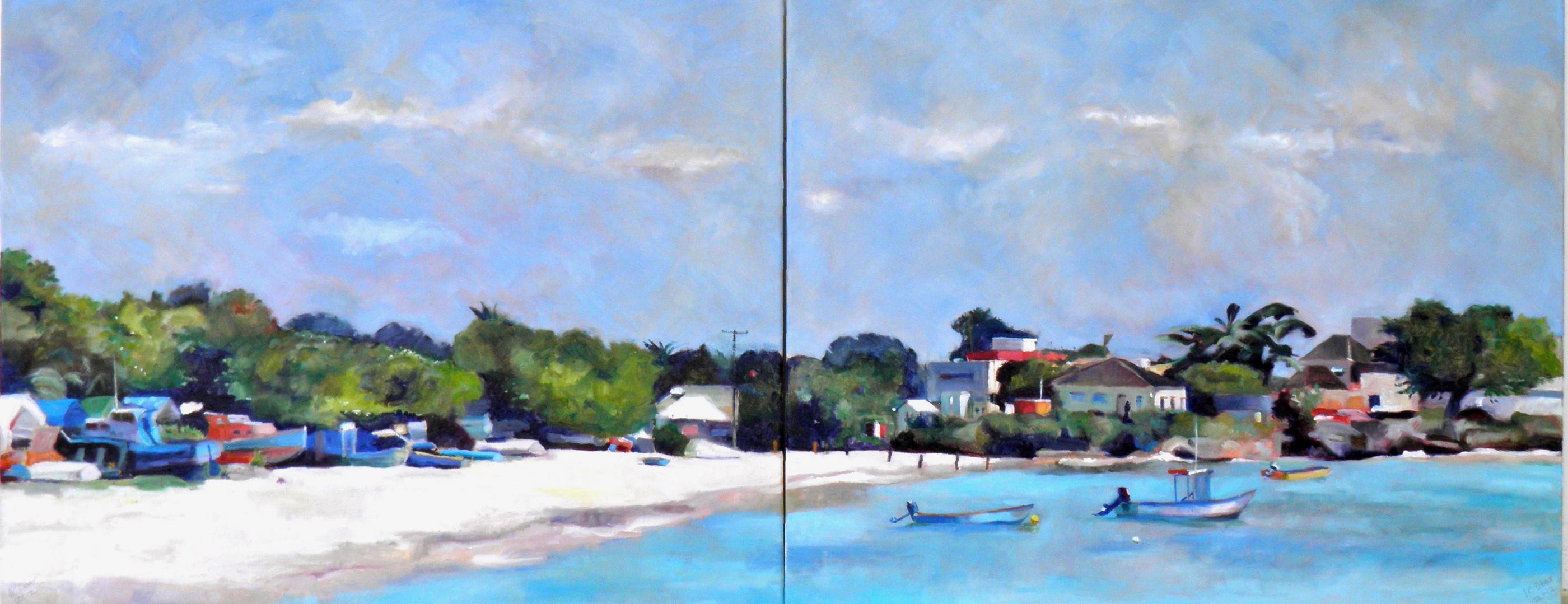 """Oistins Bay Diptych. Oil on Canvas 24"""" x 60"""""""