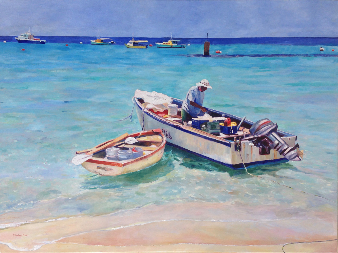 "Going Fishing Mary Ifill Fish Market, Oil on Canvas 36"" x 48"""