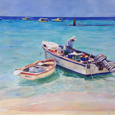 "Going Fishing Mary Ifill Fish Market, Oil on Canvas, 36""x 48"""