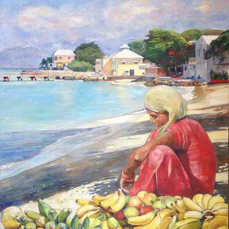 "'Fruit Vendor, Speightstown' Oil on Canvas, 48"" x 60"""