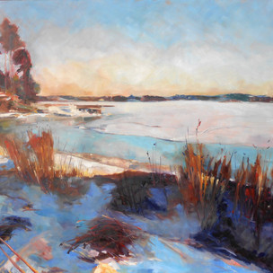 """Plahte Bay in Winter.  Oil on Canvas. 36"""" x 48""""."""