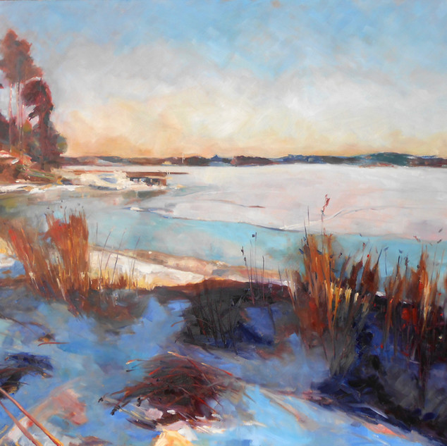 "Plahte Bay in Winter.  Oil on Canvas. 36"" x 48""."