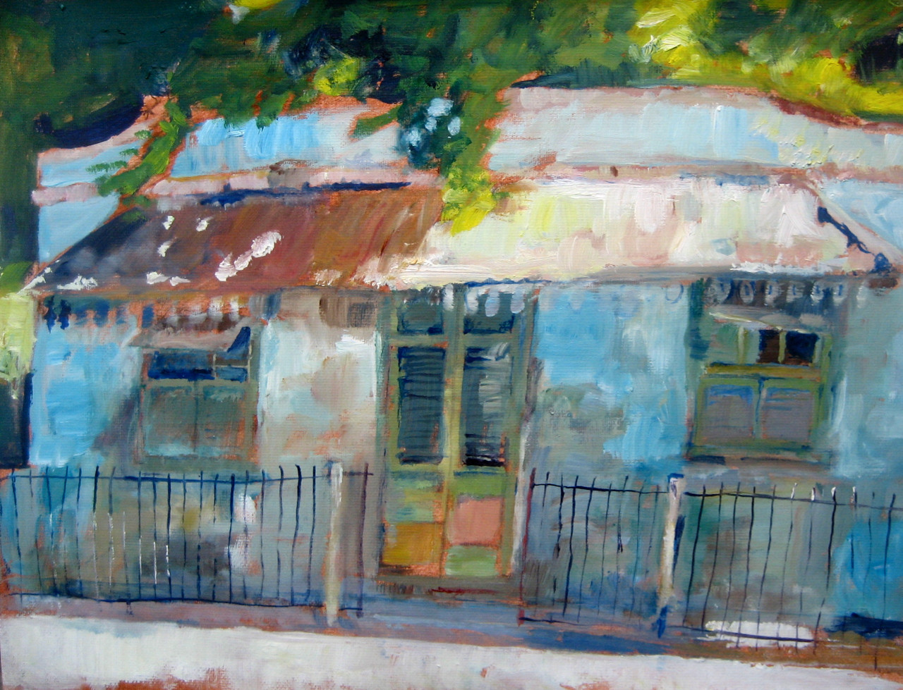 """Blue House.  Oil on Paper, 10""""x12"""""""