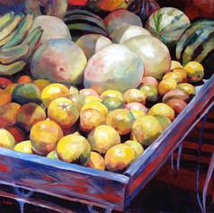 "Oistins Fruitstall, Oil on Canvas, 20"" x 24"""
